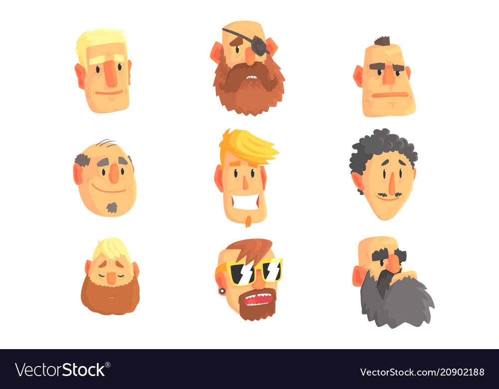 Cartoon avatar men faces with different emotions