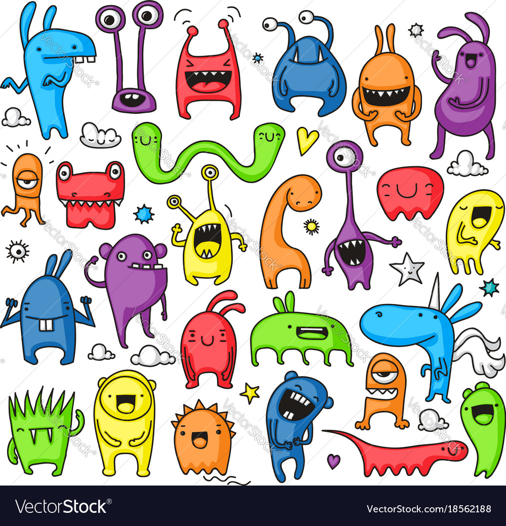 doodle monster collection royalty free vector image
