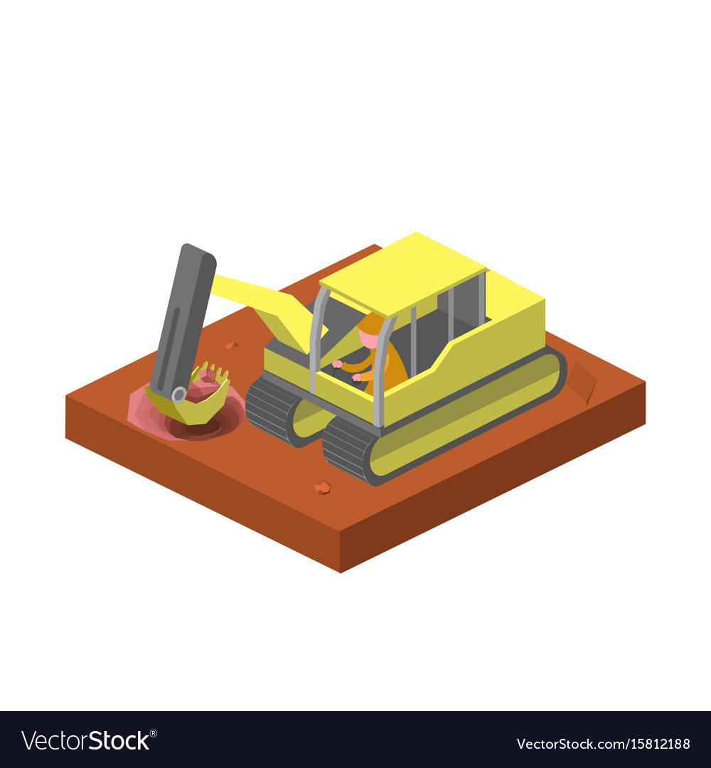 Excavator machine dig ground isometric vector image