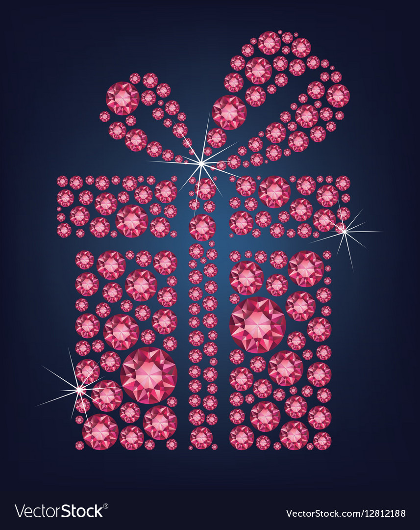 Gift present made up a lot of ruby diamonds vector image