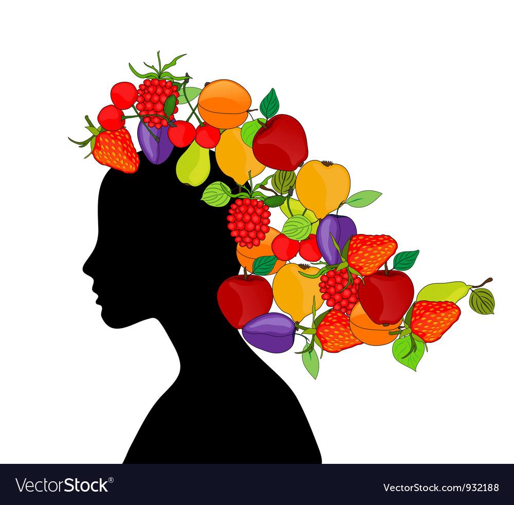 Girl with fruit hair