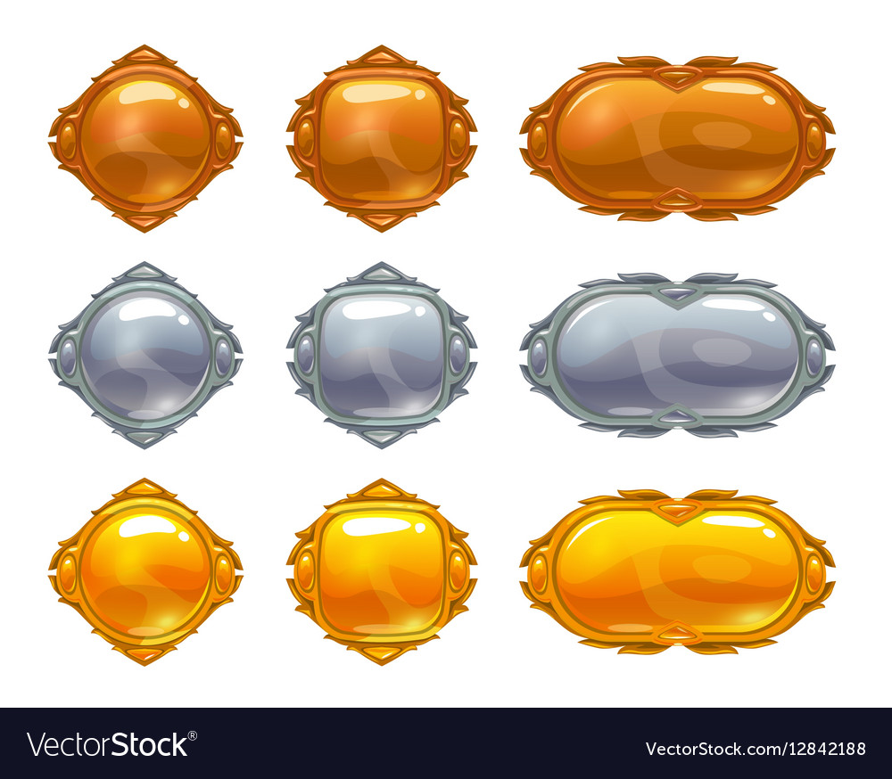 Golden silver and bronze buttons set vector image