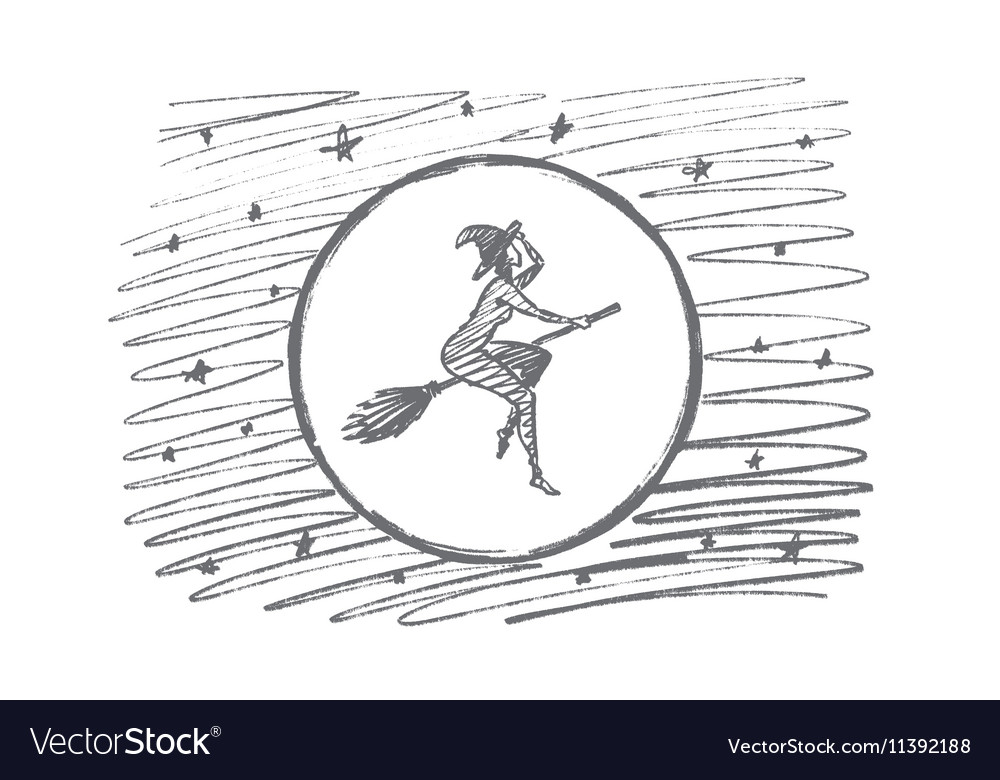 Hand drawn Halloween magic woman flying on broom