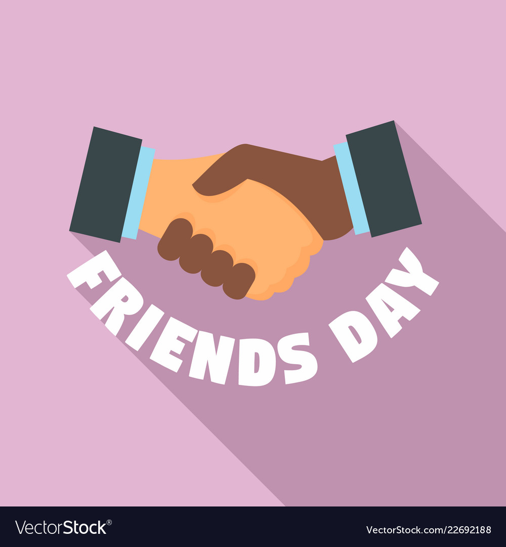 Handshake friends day logo flat style