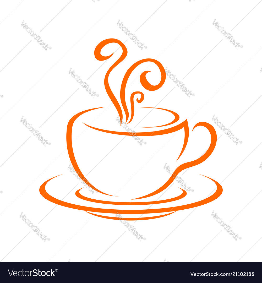 Hot coffee drink cup line art symbol logo design