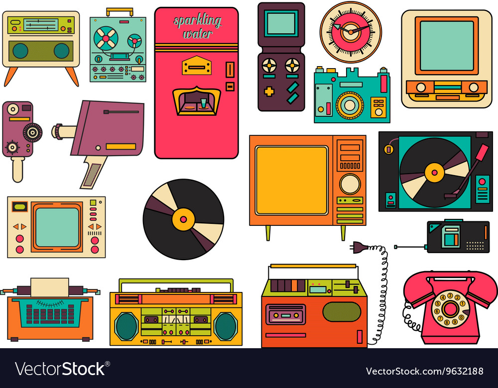 Set of color vintage flat electronic icons 80-90s