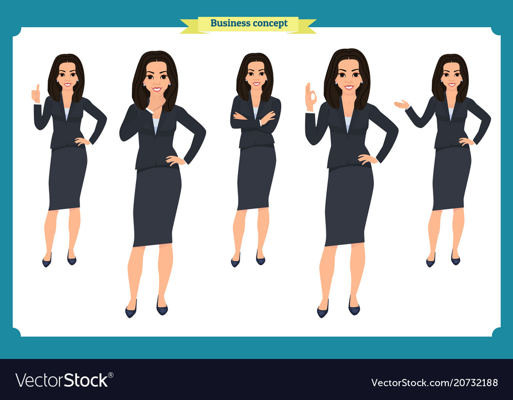 Set of young businesswoman presenting