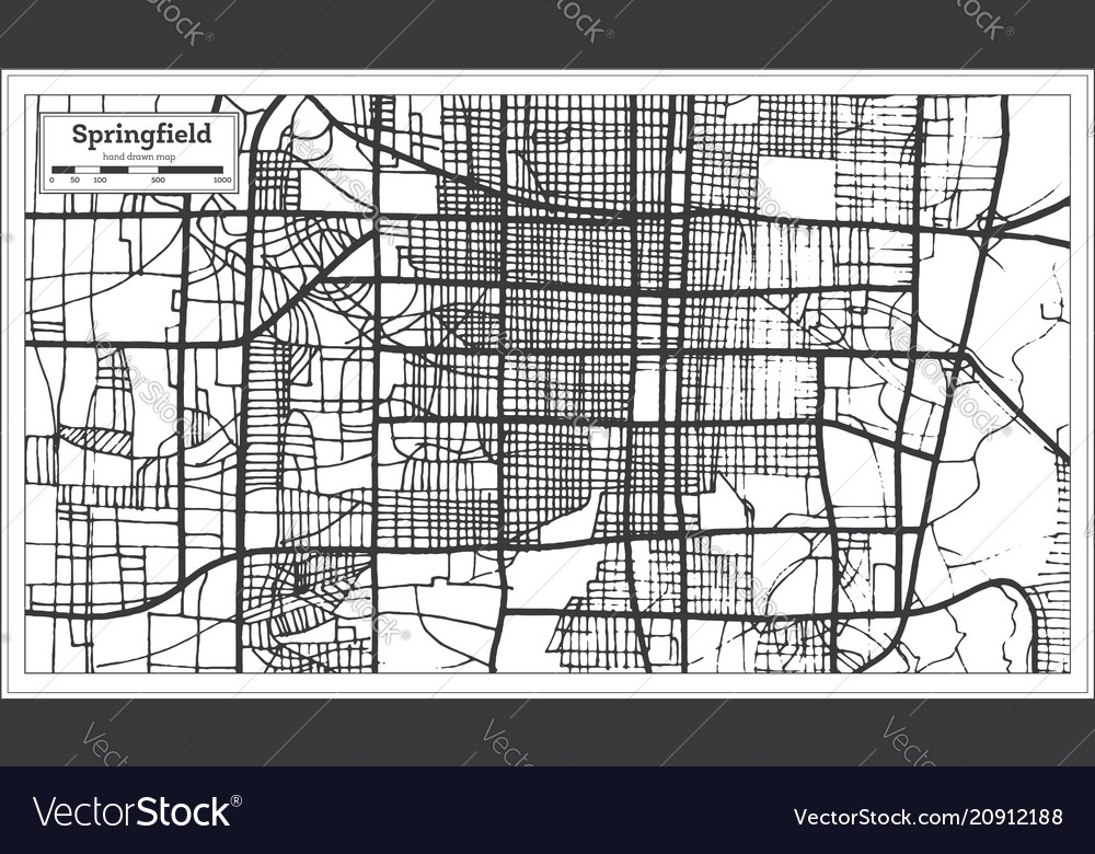 Springfield Usa Map.Springfield Usa City Map In Retro Style Outline Vector Image