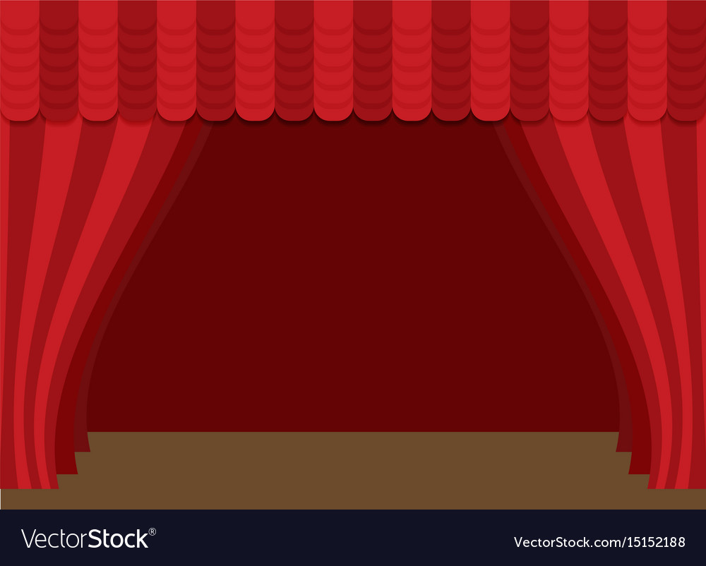 stage curtains with brown wooden floor royalty free vector