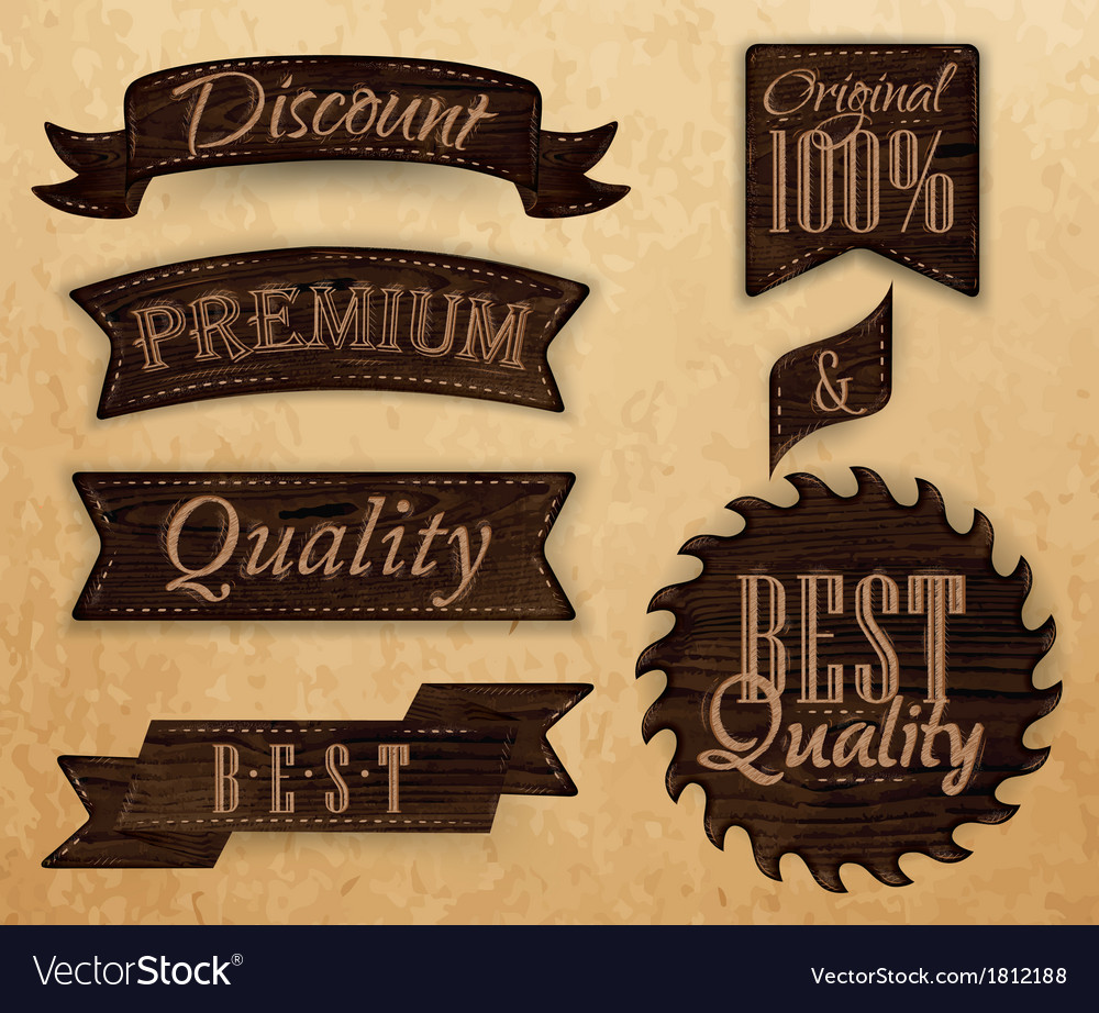 Wooden ribbon vector image