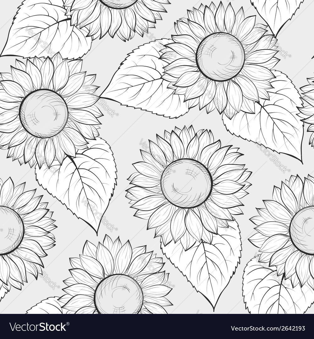 Black And White Seamless Background With Sunflower