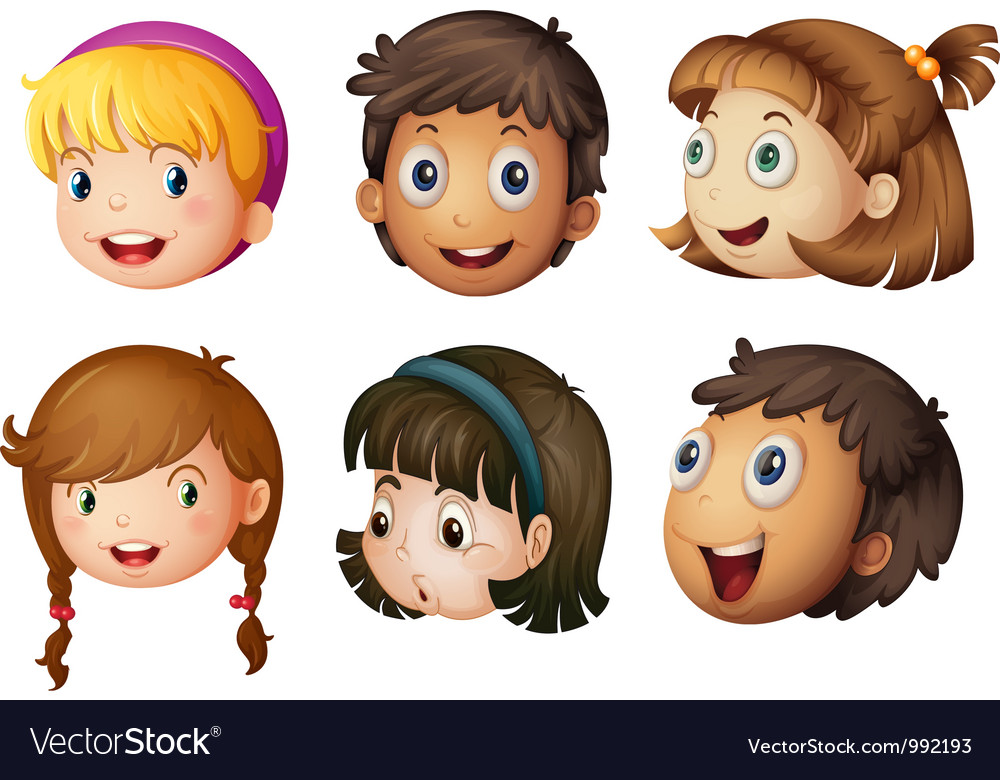 Cartoon Kids Faces Royalty Free Vector Image
