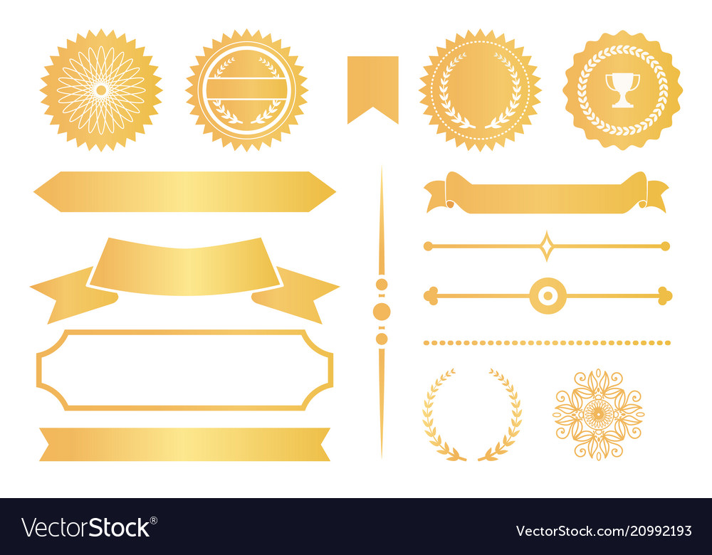 Certificate design elements labels awards ribbons vector