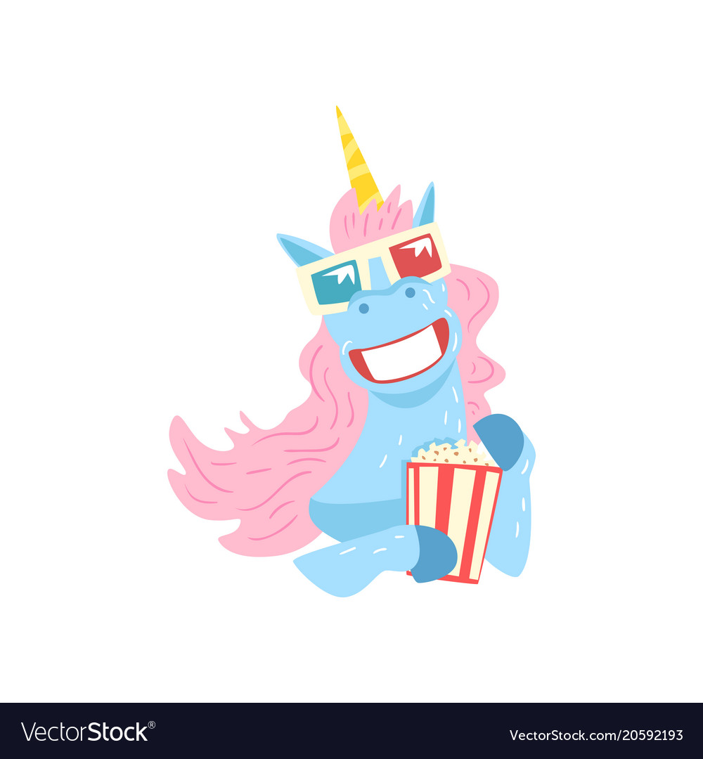 Cute funny unicorn character with 3d glasses and