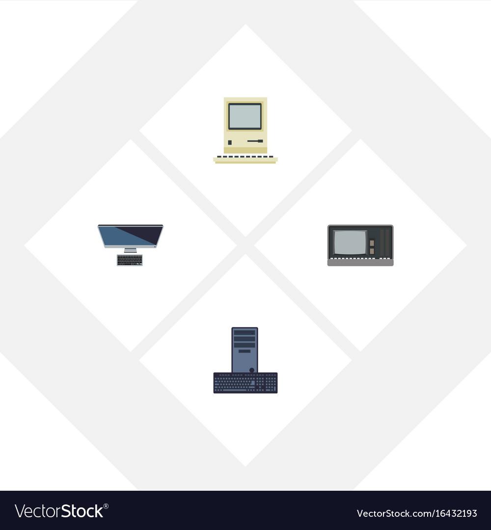 Flat icon laptop set of computing vintage