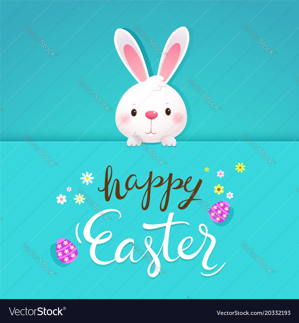 Happy easter greeting card with white rabbit