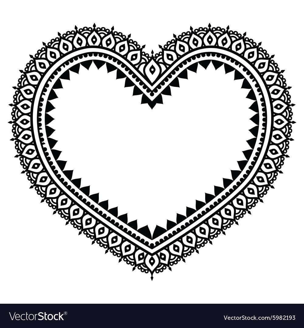 Heart Mehndi design Indian Henna tattoo pattern