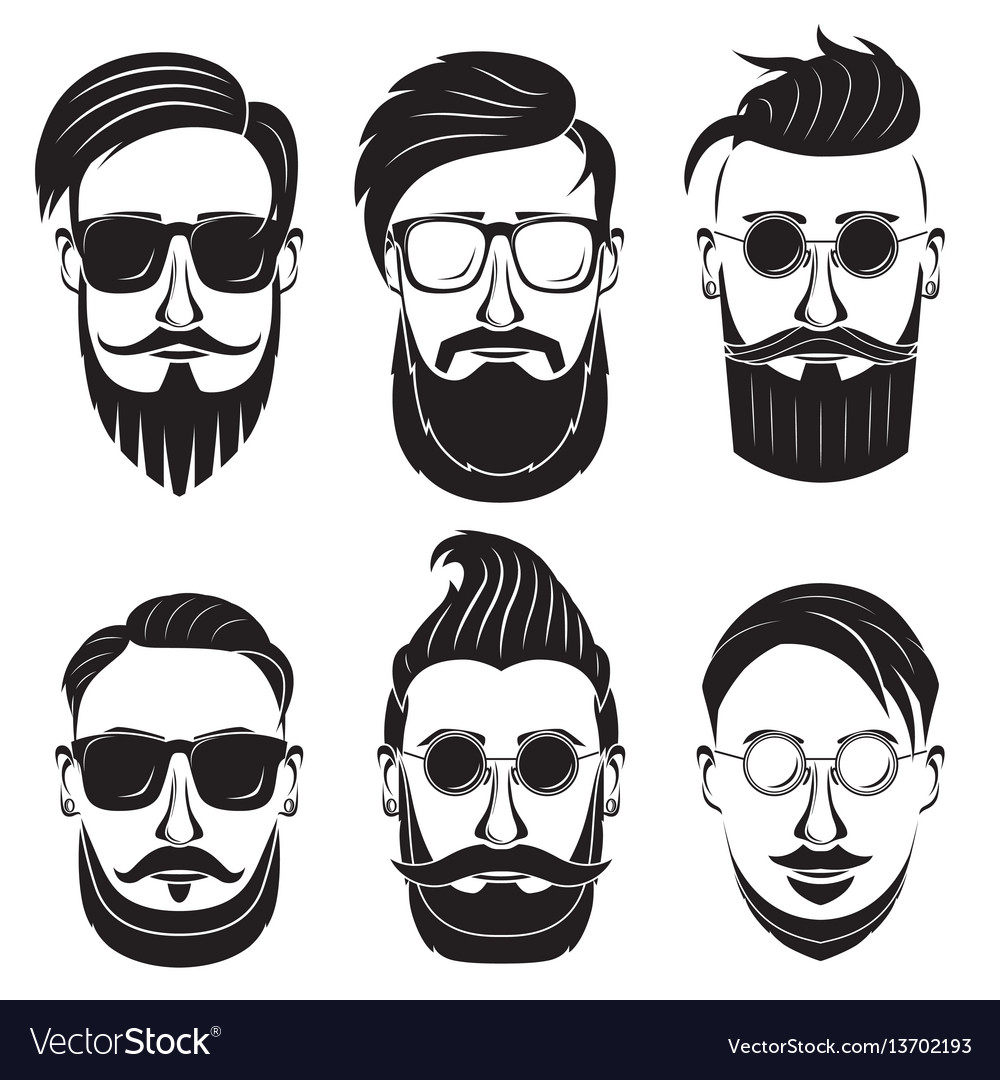 Hipster face on a white background bearded man