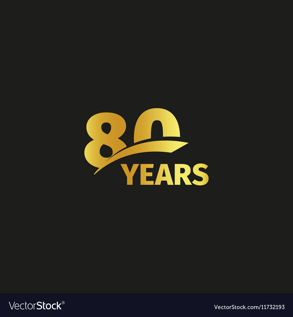 Isolated abstract golden 80th anniversary logo on