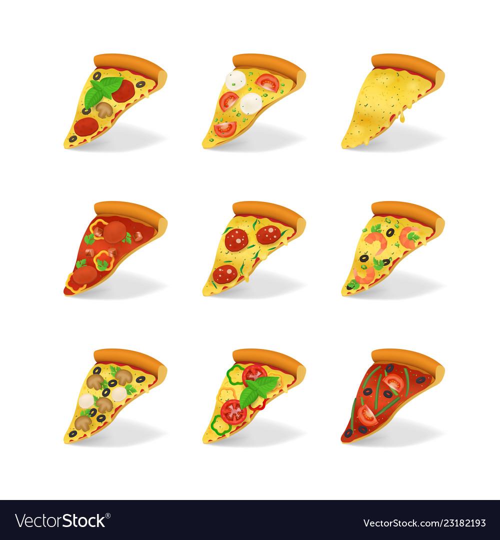 Realistic 3d detailed pizza slices set