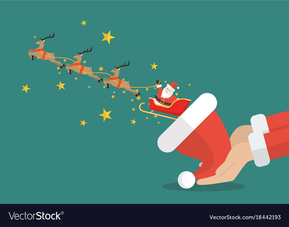 Santa claus with reindeer sleigh flying out of