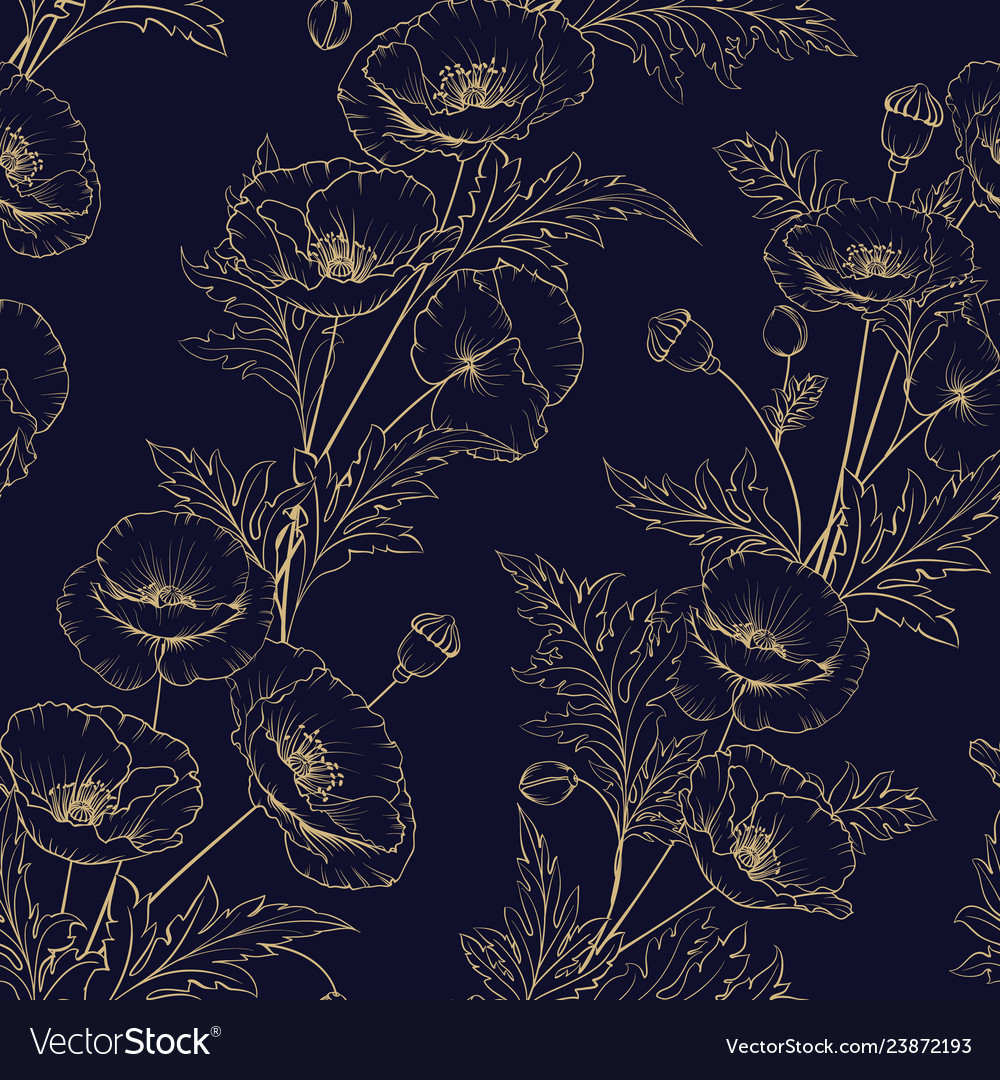 Seamless pattern golden poppy flowers on a