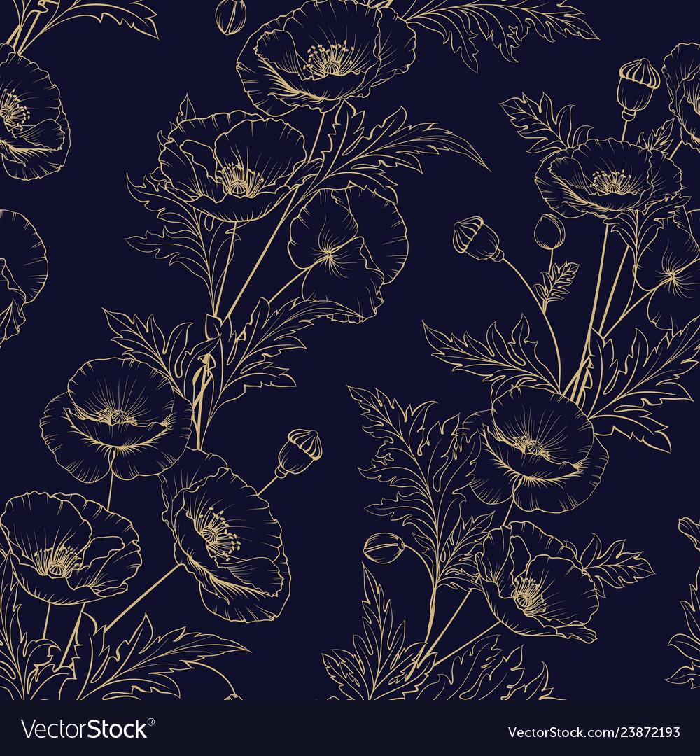 Seamless pattern of golden poppy flowers on a
