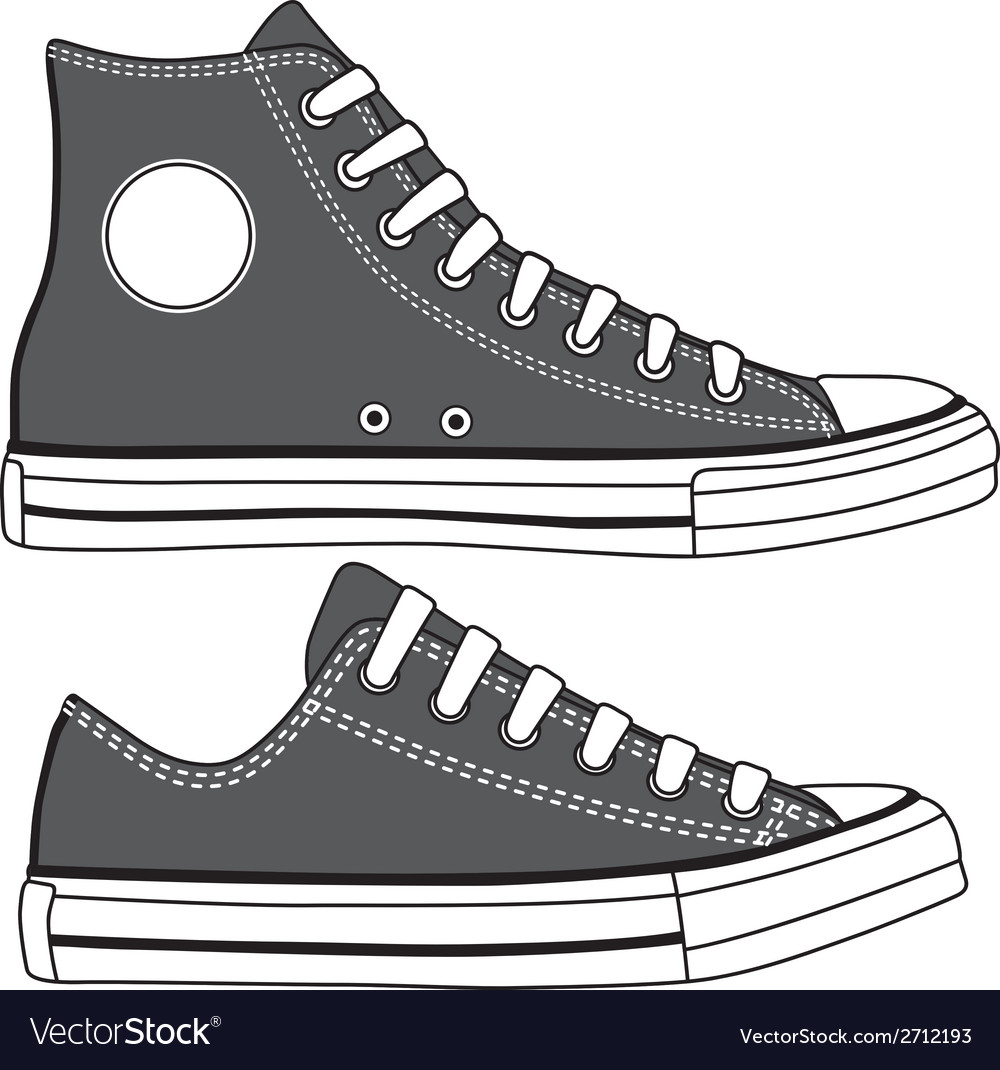 Set of high and low sneakers drawn