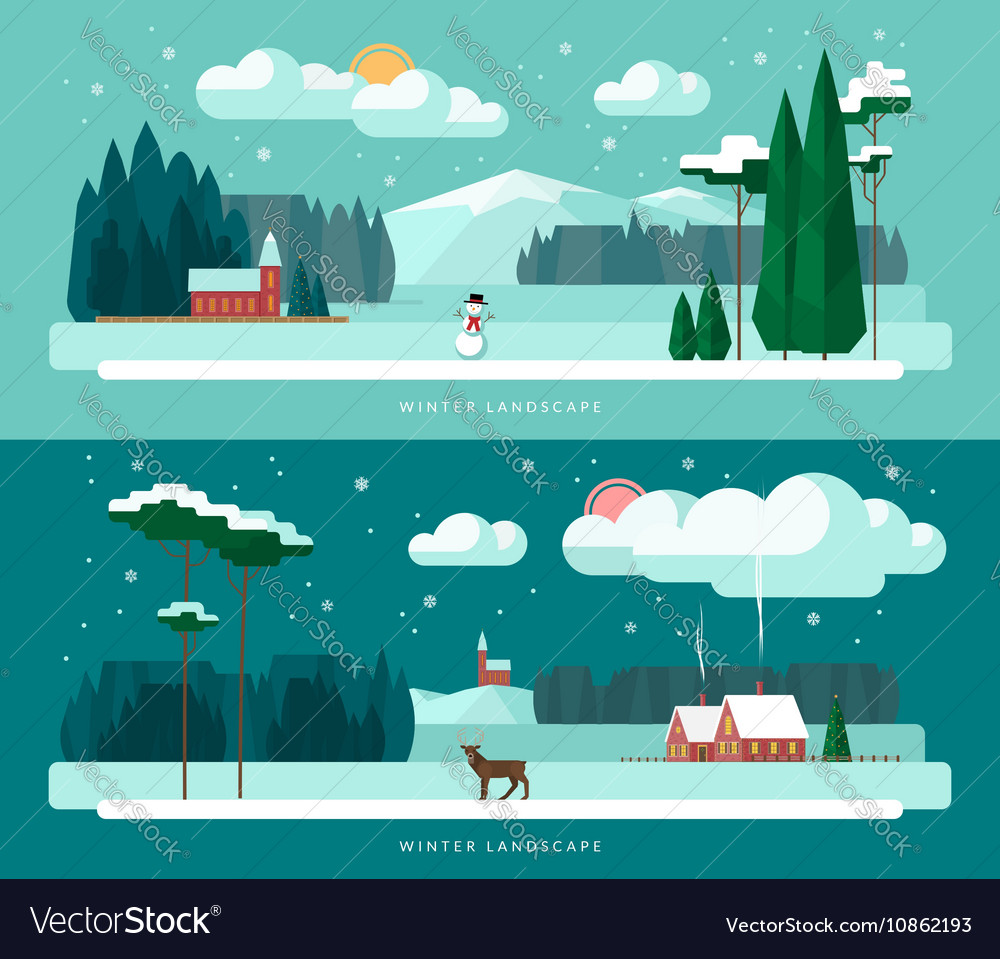 Set of winter landscape