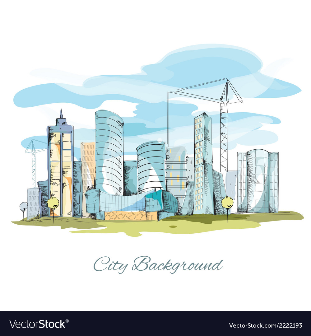 Sketch city background vector image