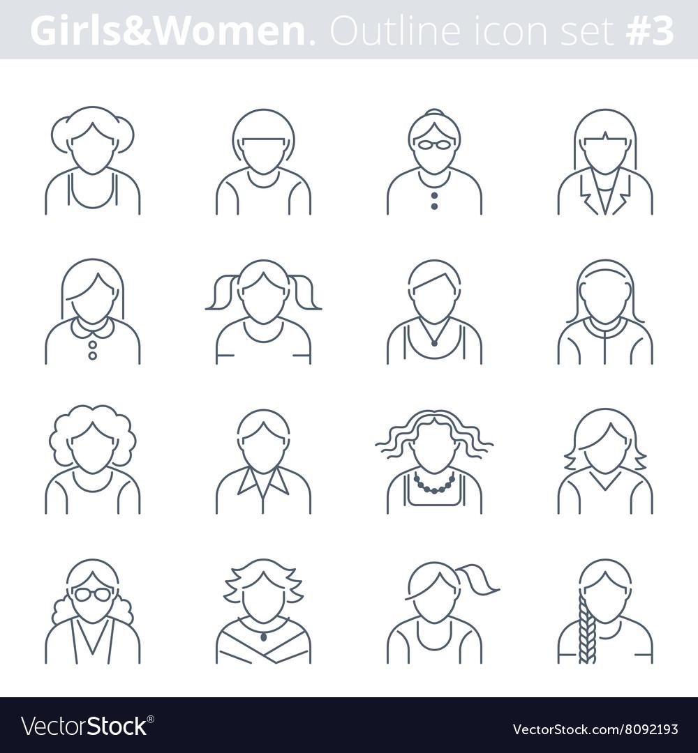 Thin line women avatars