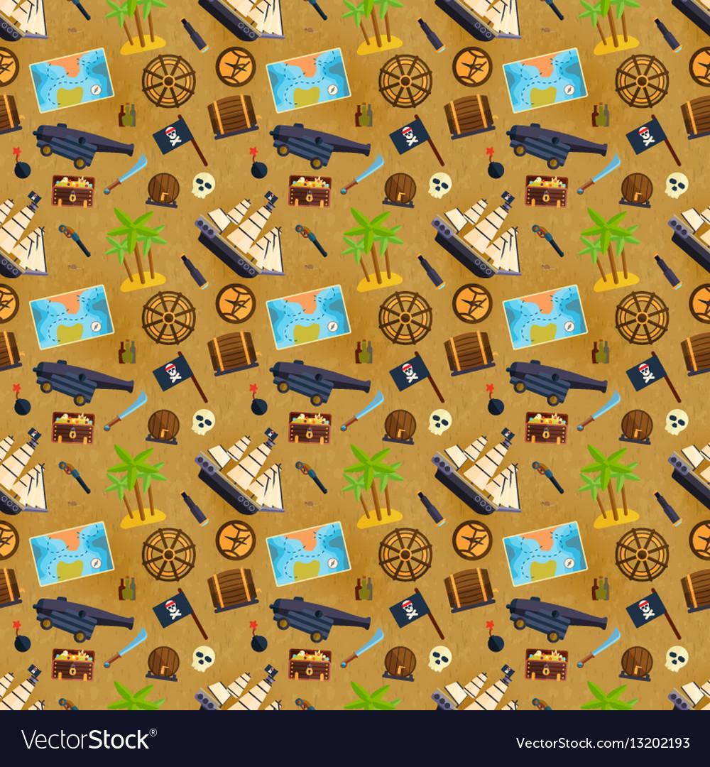 Treasure chest seamless pattern