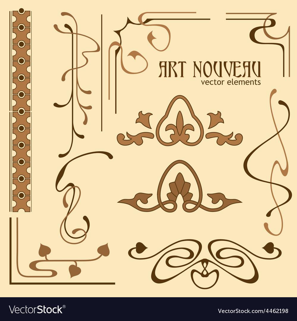 Art nouveau elements vector image