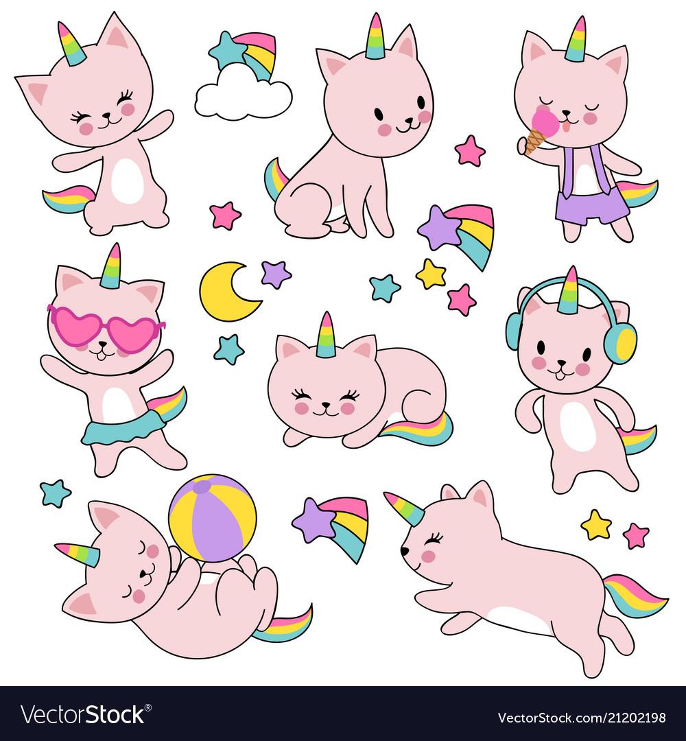 Catroon cute white cat unicorns set