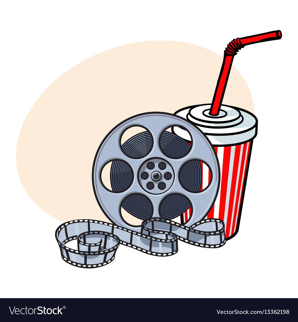 Cinema attributes film reel and soda water in vector image