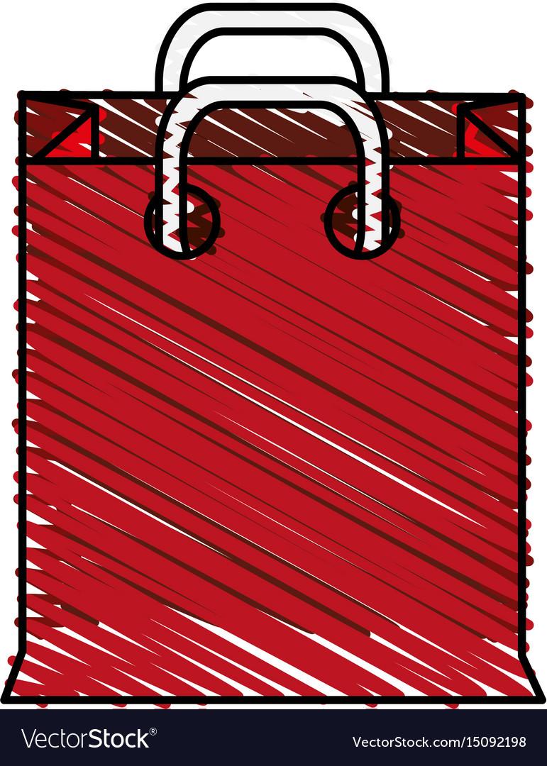 Color crayon stripe cartoon red bag for shopping vector image