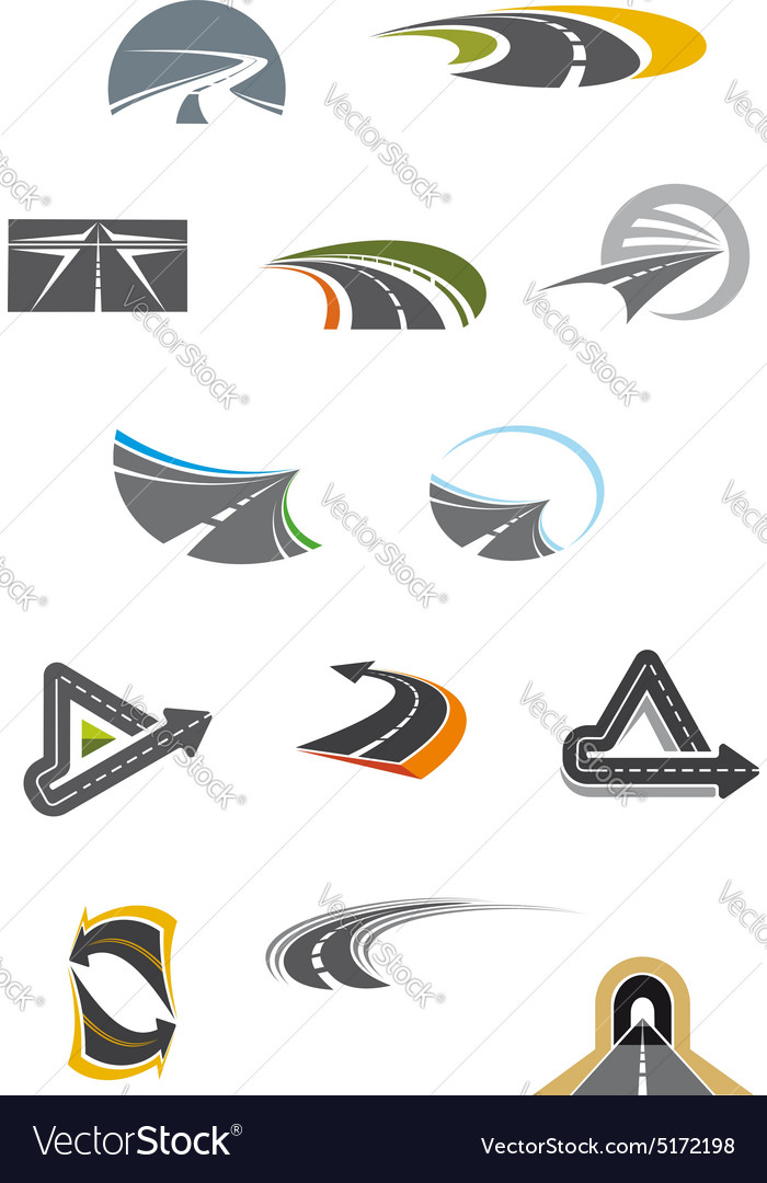Colored road icons isolated on white