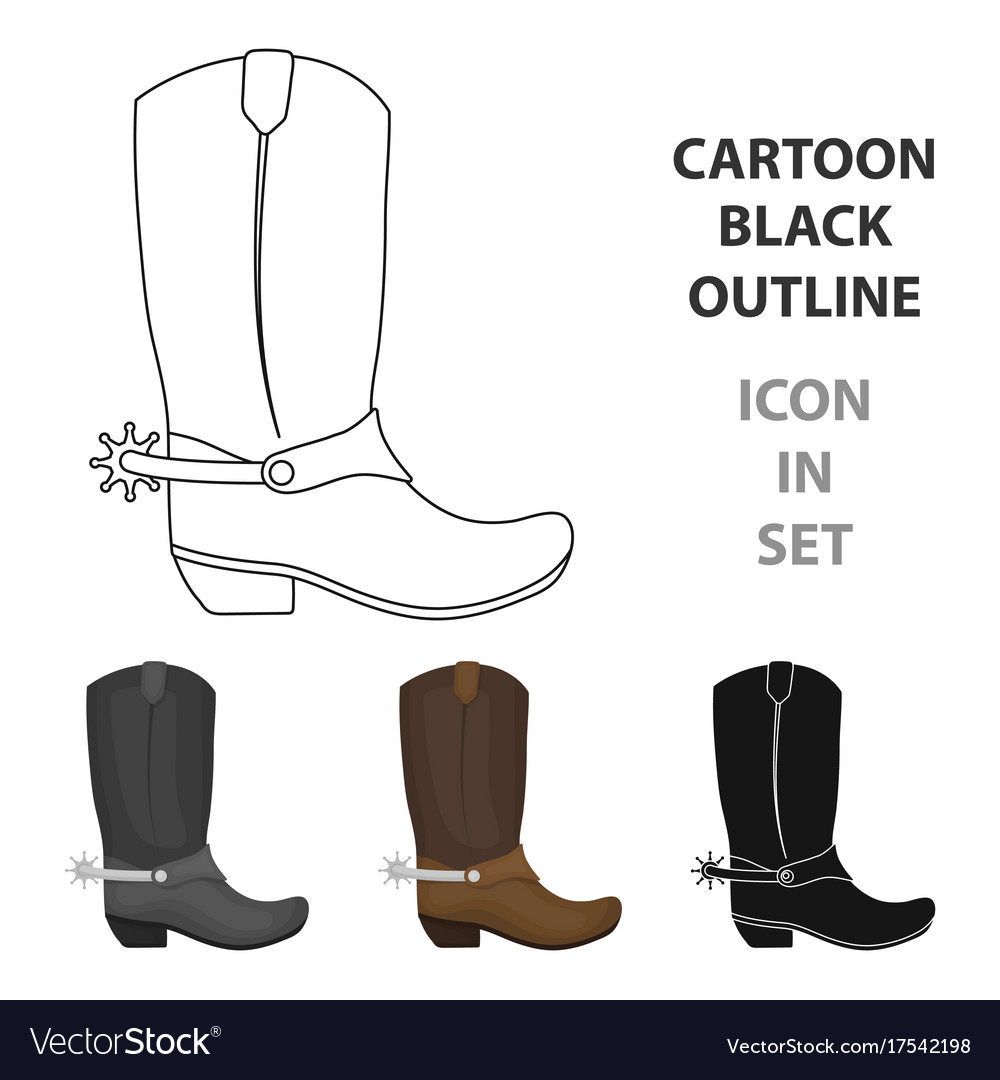 Cowboy boots icon in cartoon style isolated on