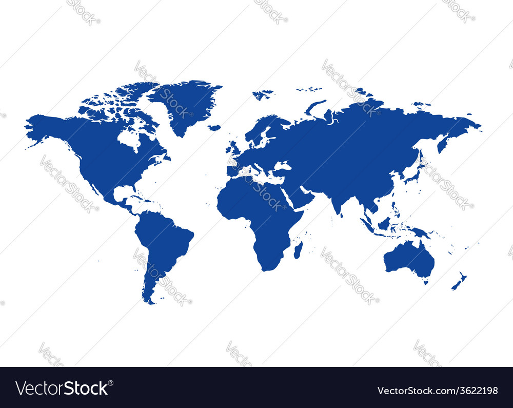 Dark blue map of the world - continents Royalty Free Vector