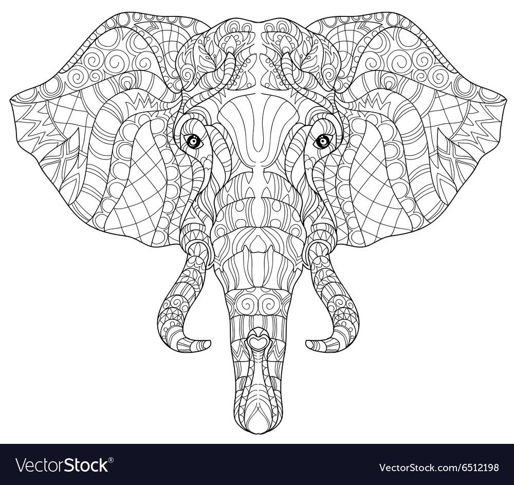 Elephant head doodle on white sketch