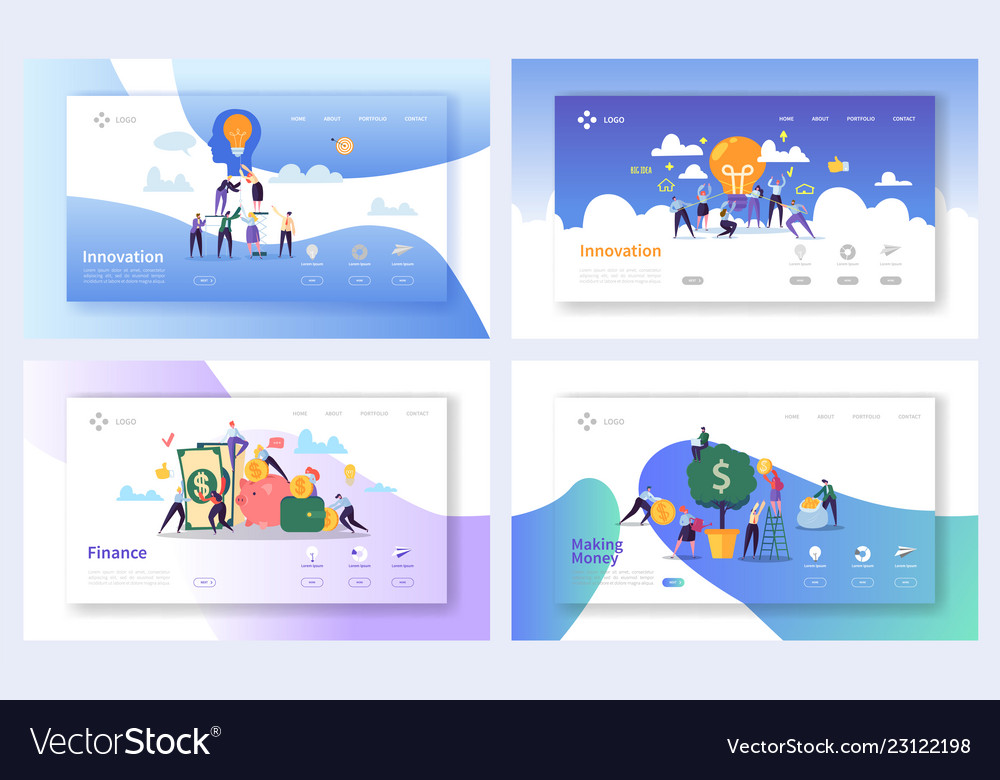 Financial business innovation ideas landing page