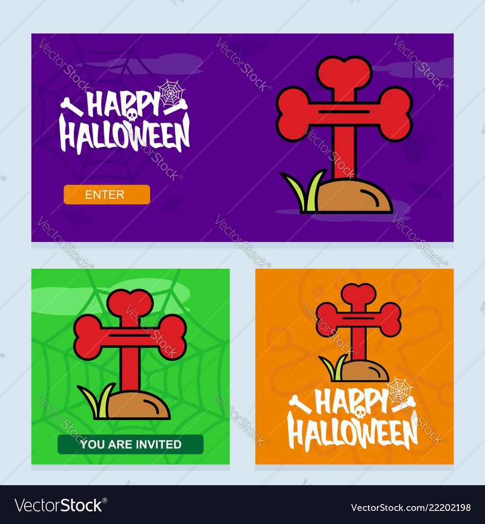 Happy halloween invitation design with grave