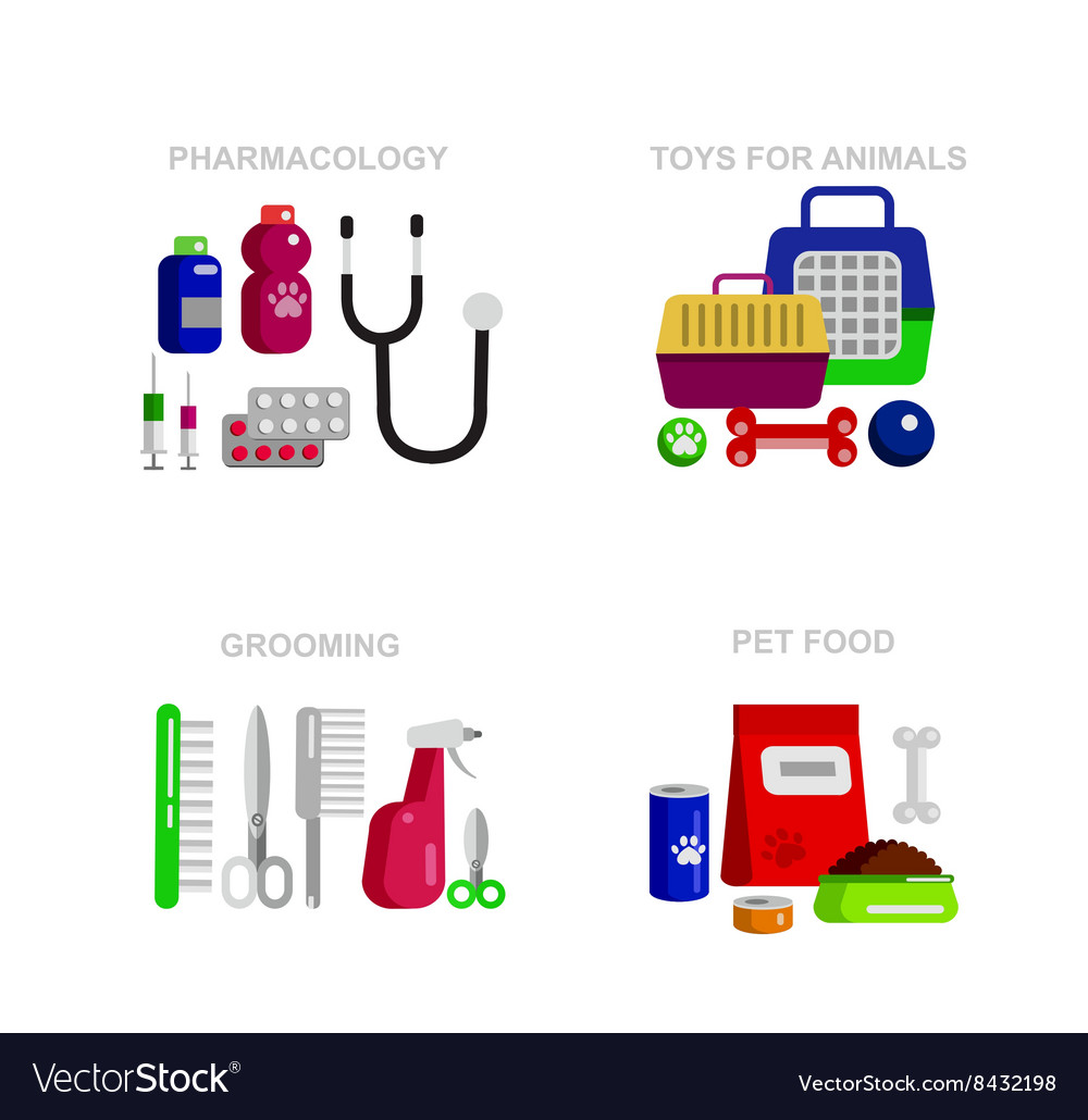 Pet shop Pets accessories and vet store vector image