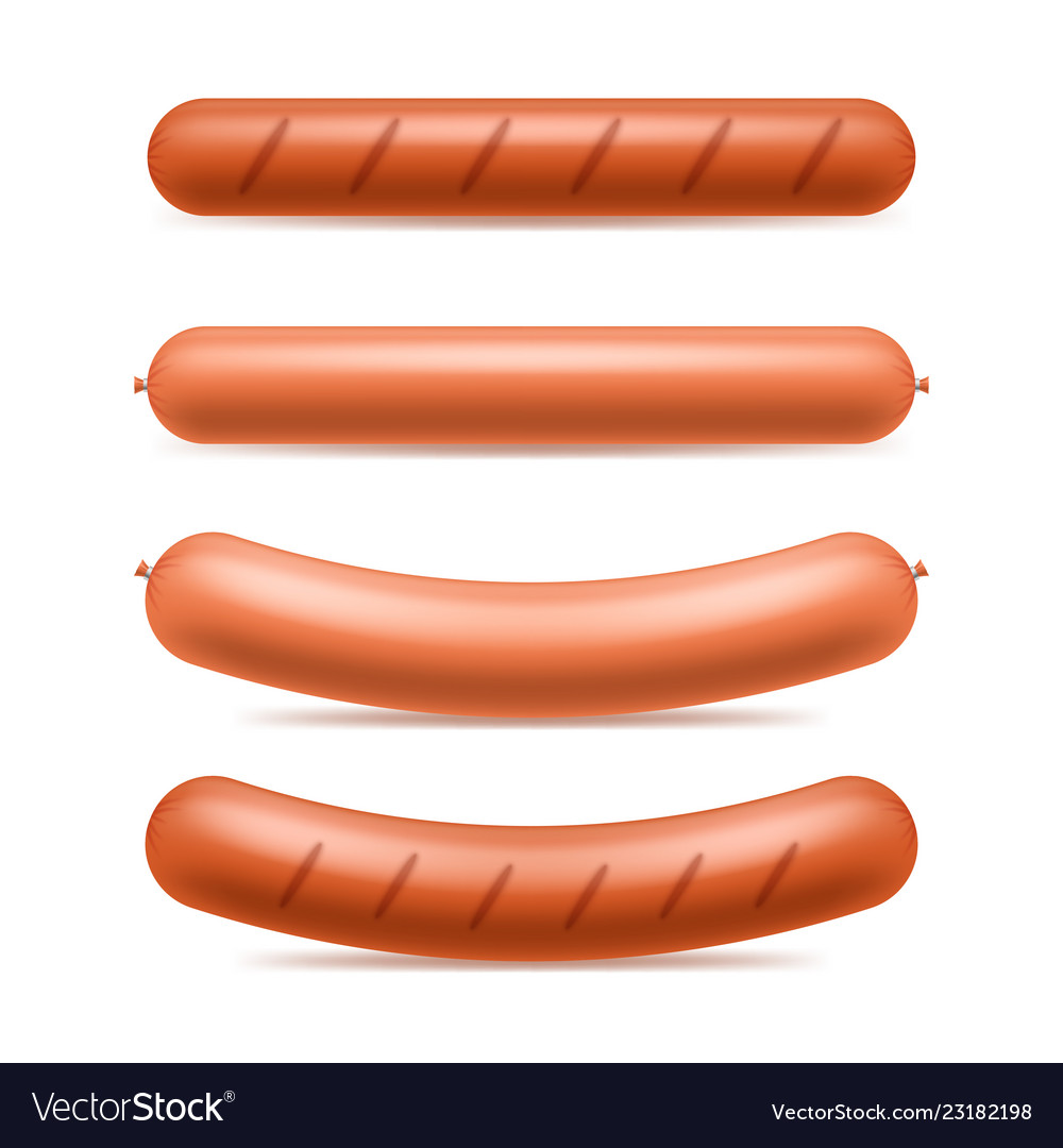 Realistic 3d detailed sausages meat set
