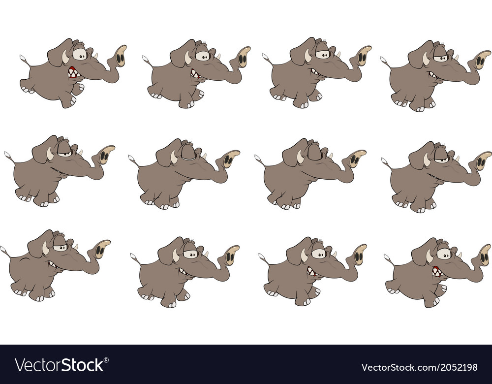 Set of elephants cartoon
