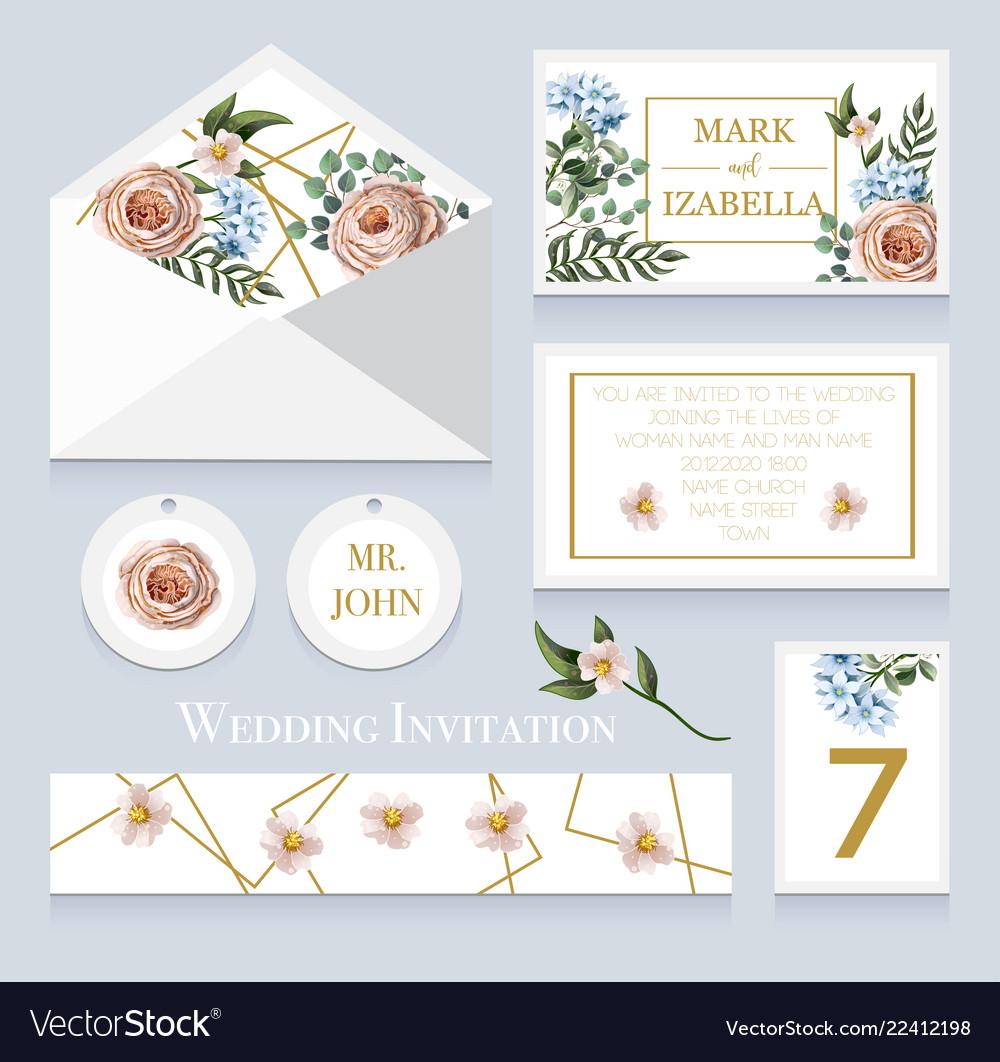 Wedding invitation with english roses eucalyptus