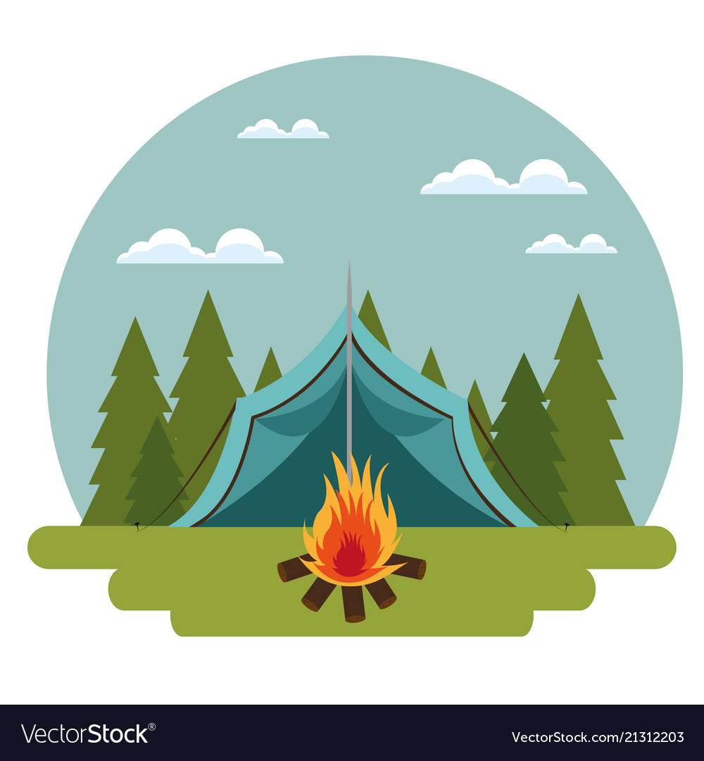 Camping zone with tent and campfire Royalty Free Vector