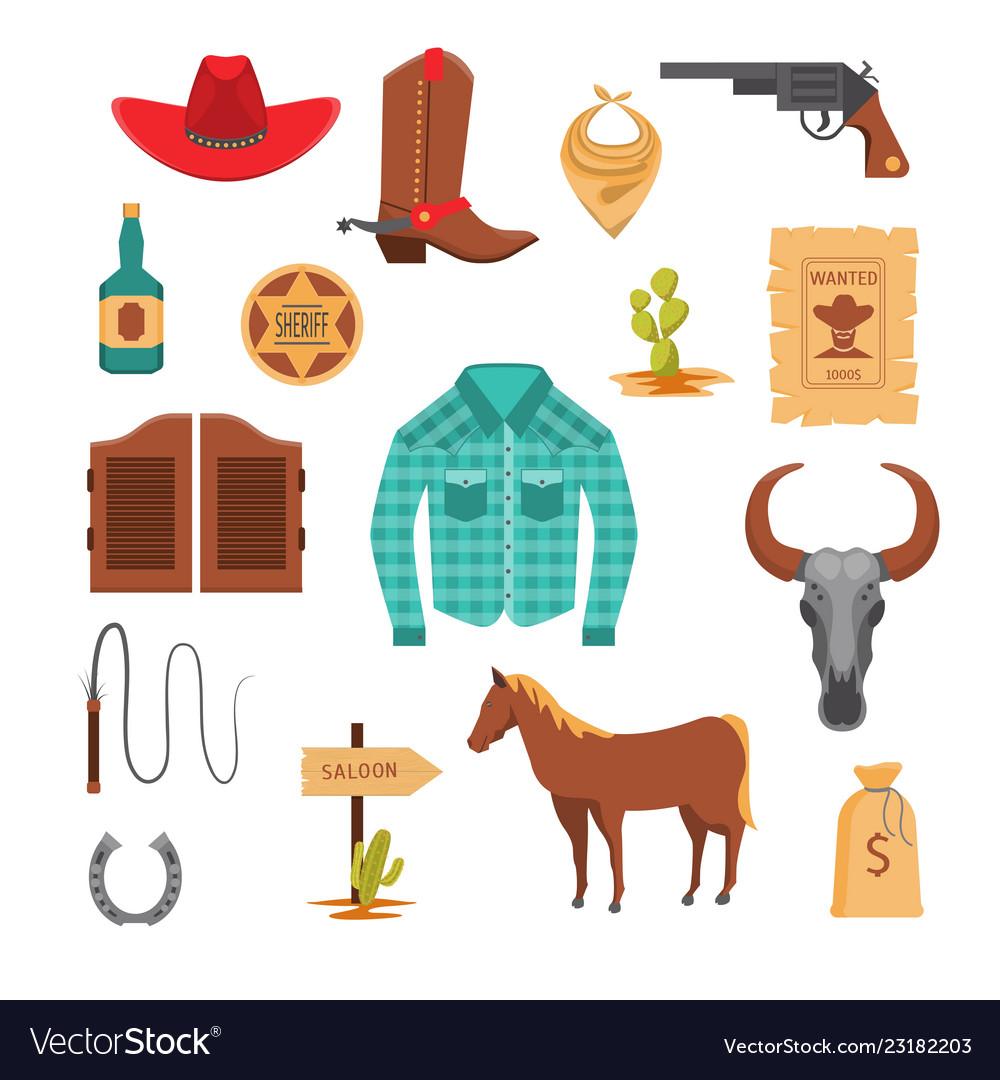 Cartoon wild west signs icon set