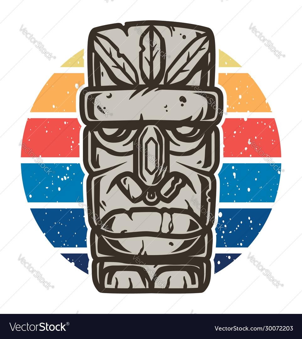 Color design tiki mask for summer surfing season