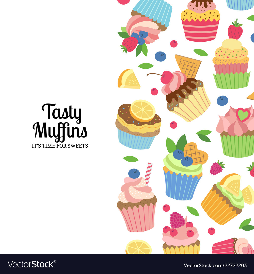 Cute cartoon muffins or cupcakes background